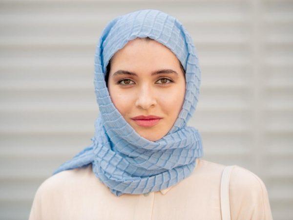 Blue Cotton Hijab