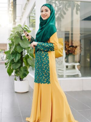 Green and Yellow Premium Nida Abaya