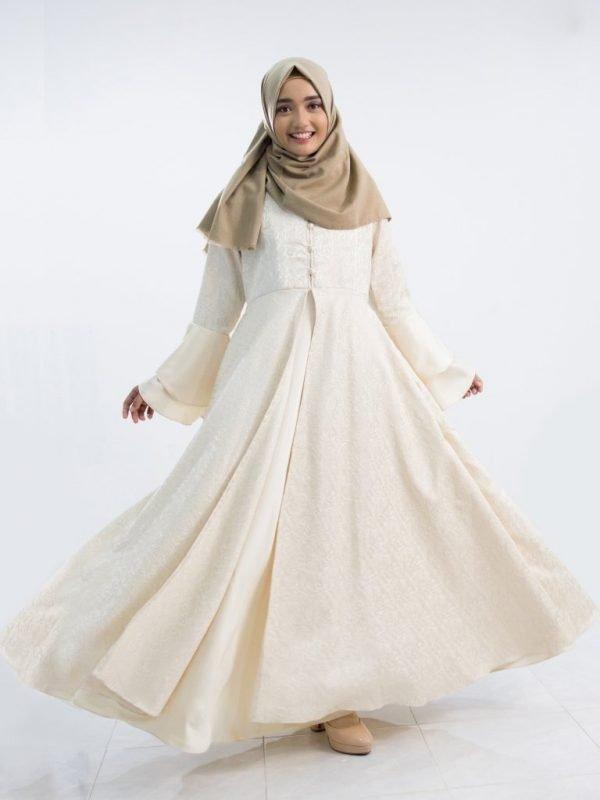 Stylish White Nida Abaya